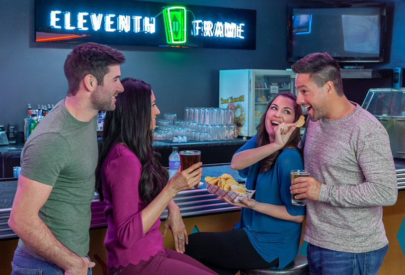 Couples drinking and eating