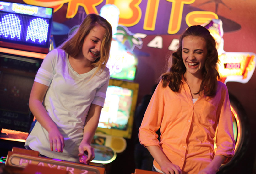Girls at the arcade